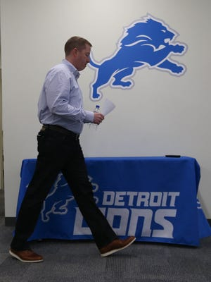 Lions general manager Bob Quinn speaks to reporters concerning the firing of head coach Jim Caldwell on Monday, Jan. 1, 2018, in Allen Park.