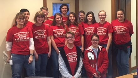 Members of the Oak Harbor High School Academic Challenge Team: Front row kneeling, from left, Xavier Gschwind and Morgan Boyer; middle row, from left, Mrs. Pamela Mills, adviser; Katelyn Farmer, Abby Pollauf,  Alexis Blank; Caitlynn Noble; Ally Garner, and  Hailey Frondorf; back row from left, Tristian Moeller; Gerald Craddock; Daniel Bollin, and Amelia Mizelle.