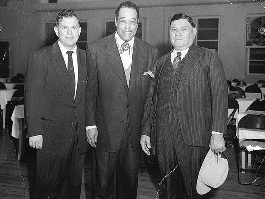 CONTRIBUTED PHOTO/TEXAS A&M UNIVERSITY-CORPUS CHRISTI'S BELL LIBRARY Ralph Galvan Jr. (left), Duke Ellington and Rafael Galvan Sr. at the Galvan Ballroom on Feb. 14, 1952.
