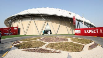 Even before the announcement of a massive U.S. investigation into bribery involving FIFA soccer officials, the World Cup planned for Qatar in 2022 was already rife with problems. This photo from 2014 shows one of the showcase soccer stadiums constructed for the event.
