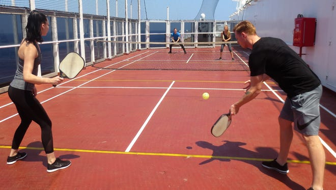 Pickleball being played on the Holland America Volendam in the South China Sea.