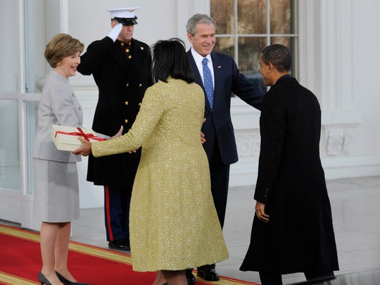 The White House still belonged to the Bushes when they welcomed the Obamas to the Executive Mansion hours before Barack Obama's swearing-in ceremony in 2009. Once the incoming president takes the oath of office, the White House is his.