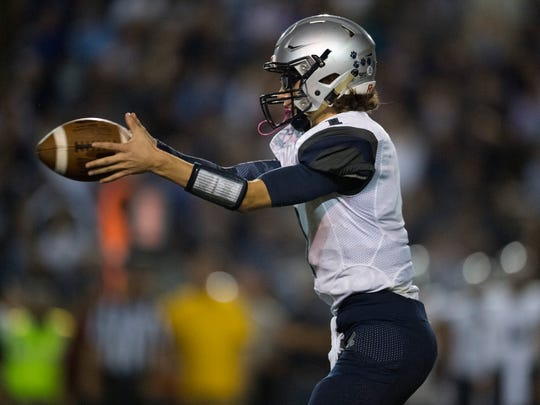 Reitz Quarterback Eli Wiethop (1) during the game against the Central Bears at Central Stadium in Evansville, Ind., on Friday, Sept. 8, 2017. The Panthers defeated the Bears, 28-21.