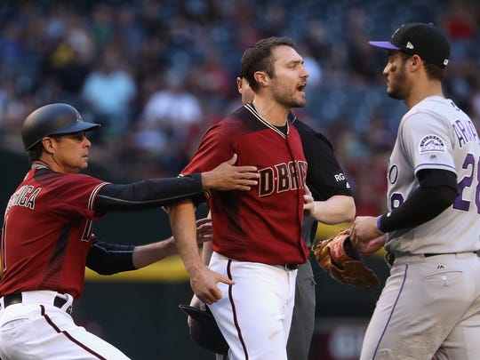 PHOENIX, AZ - APRIL 30:  A.J. Pollock #11 of the Arizona