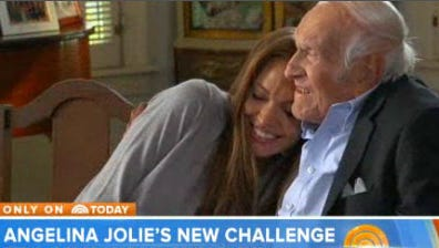 Angelina Jolie and Louis Zamperini share a moment for 'Today' show cameras.