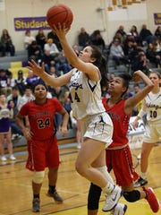 North Kitsap sophomore Noey Barreith scored 18 points in the Vikings' 67-31 win over Franklin Pierce on Wednesday in Class 2A West Central District tournament play.