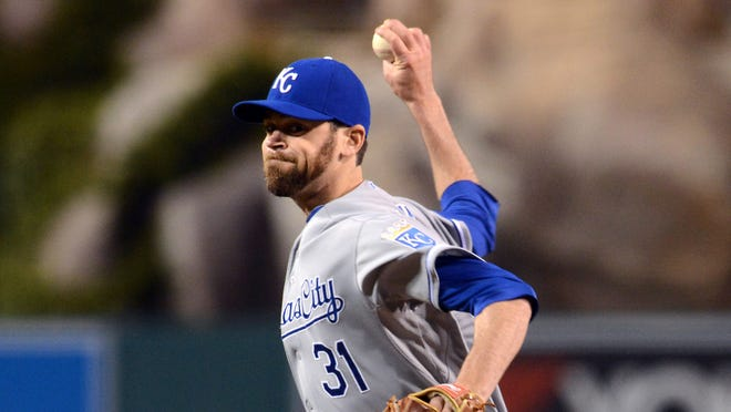 Kansas City Royals relief pitcher Louis Coleman (31) in the seventh inning of the game against the Los Angeles Angels at Angel Stadium of Anaheim. Angels won 6-1.