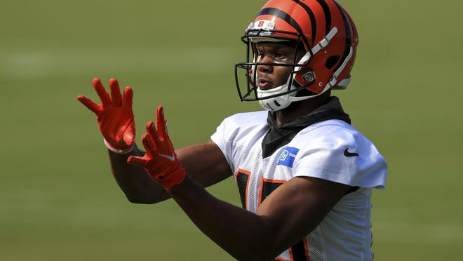 Cincinnati Bengals' Damion Willis (15) makes a catch as he runs a drill during an NFL football camp practice in Cincinnati, Monday, Aug. 17, 2020.