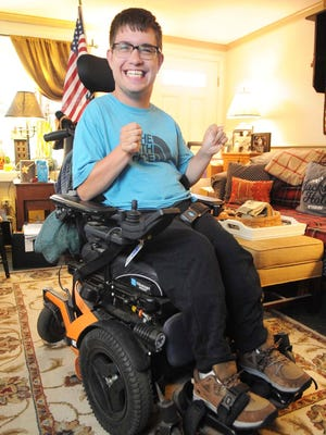 Ricky Stewart, 26, of Middleboro, pictured on Wednesday, Oct. 28, 2020, days after submitting his mail-in ballot for the general election. Stewart is a client at the Arc of Bristol County, which has provided to support for voters with disabilities, including how to register and knowing their rights to vote.