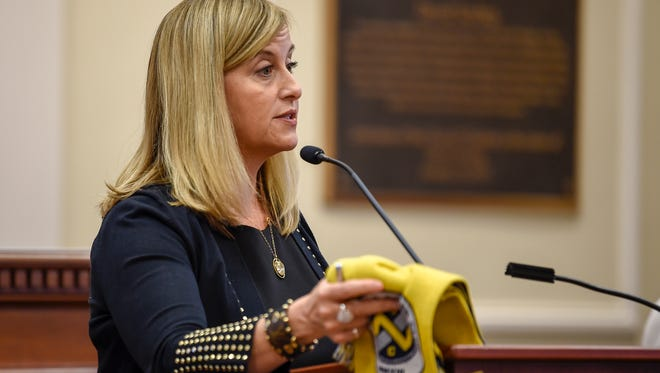 Mayor Megan Barry introduces the plans to bring Major League Soccer to Nashville at the Council Chambers in Nashville on Oct. 2, 2017.