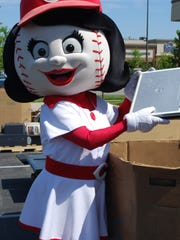 Rosie Red drops off a laptop during the April 27 Players for the Planet e-waste recycling event in Anderson Township.
