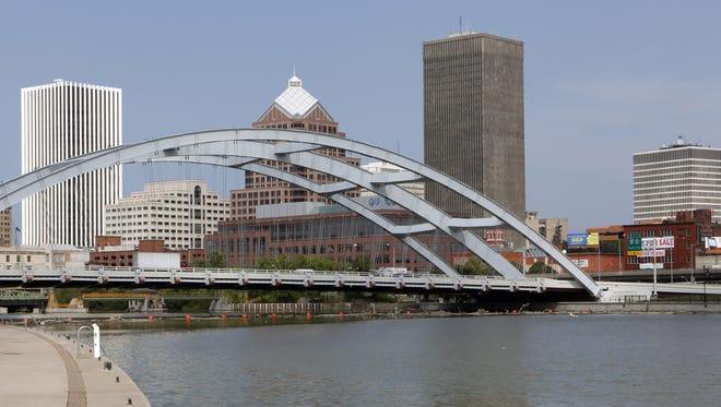 Rochester's Douglass-Anthony Memorial Bridge, with the city skyline.
