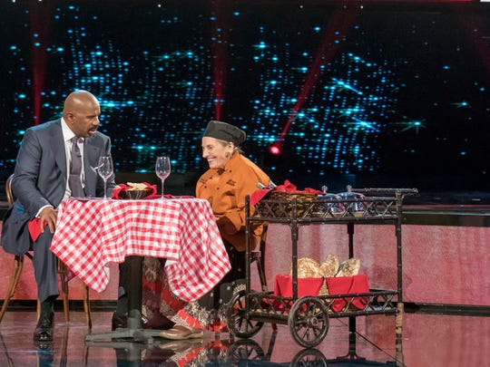 "(l-r) Steve Harvey, Maria Alfano - on show ""Little Big Shots:Forever young"""