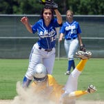 Georgetown's Booke Lincecum makes it safely to second in a cloud of dust as St. Joseph's Sarah Brown can't make the play during the LHSAA FastPitch 56 Softball Tournament at Frasch Park Friday, May 1, 2015, in Sulphur, La. (Roddy Johnson/The American Press via AP) MANDATORY CREDIT
