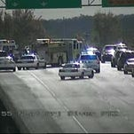 A traffic camera shot of traffic on I-55 after a wreck that is stalling southbound traffic.