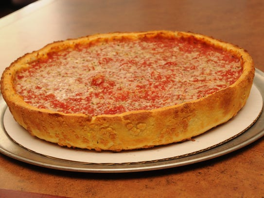 Chicago Style Stuffed Pizza with Mushrooms, Sausage,