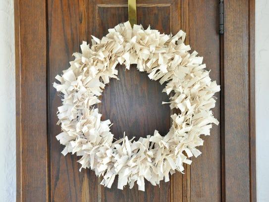 Turn fabric scraps into a simple fall wreath.