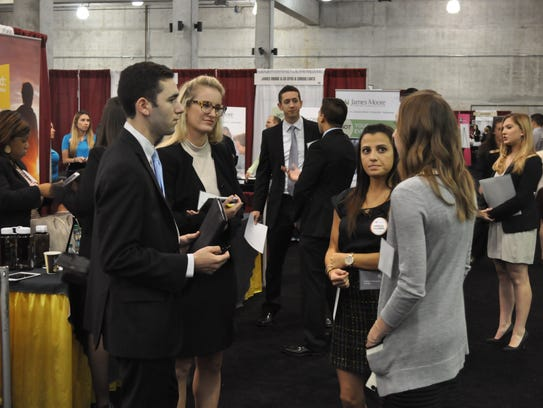 Students network with employers at the Seminole Futures