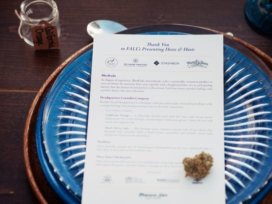 A menu at as past Mason Jar Events Group cannabis pairing.