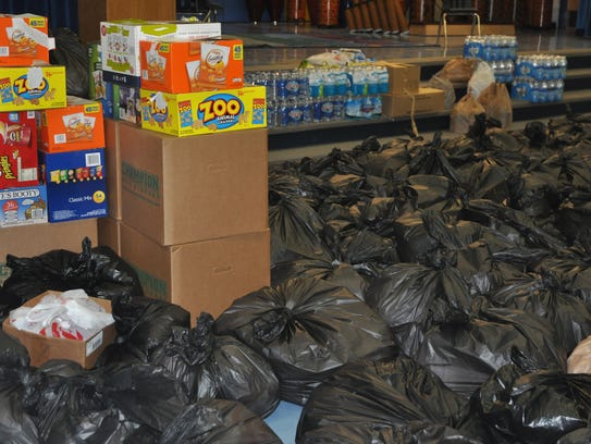 More than 3,000 snack bags were donated and packed