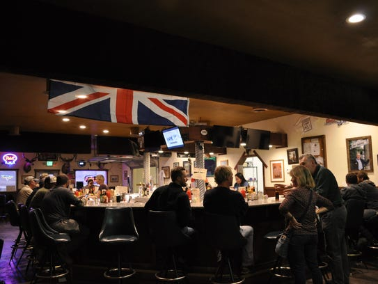 The flag for Great Britain hangs over Bruno's Bar in