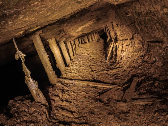 Inside an unidentified dewatered abandoned mine.