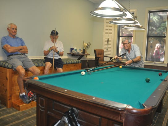 The billiards room is like a man cave for the guys