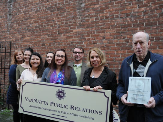 The staff of VanNatta Public Relations celebrates 50