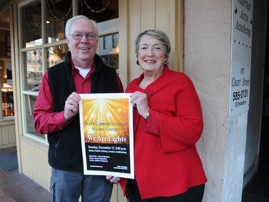 Sandy McPherson, left, and Rickie Hart promote the Salem Community Chorus' annual Christmas concert.
