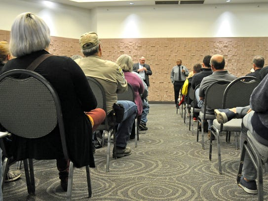 About 50 people were in the audience for the first Mayor's Community Conversation at the Abilene Convention Center on Monday, which included about a dozen members of the city staff.