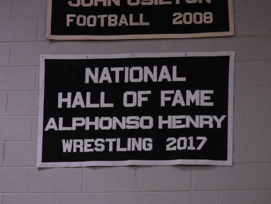 Alphonso Henry's Hall of Fame banner hangs in Jams