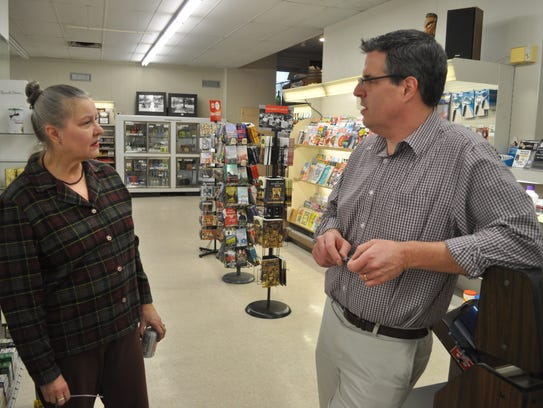 Hayek Pharmacy manager Matthew Hayek talks to Rita Pawtsch of Chattel Changers about his family's drug store, which is closing after 100 years.