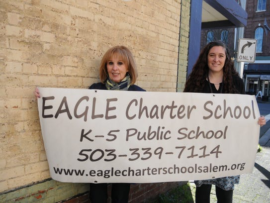 Mary Jean Sandall, left, and Stacey Morgan are shown here promoting EAGLE Charter School and its upcoming open house.