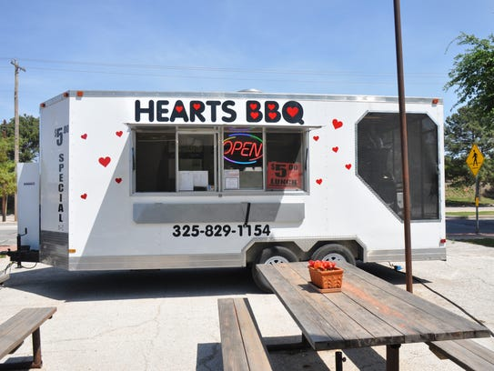 Hearts BBQ is one of several food trucker and trailer owners behind the Food Truckers for a Cause the first Tuesday of each month to raise money for a local nonprofit. The Hearts BBQ truck had lunch service at The Food Park in Downtown Abilene on April 11.