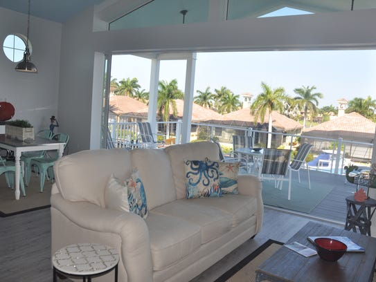 The Funky Fish House has a porch off the family room