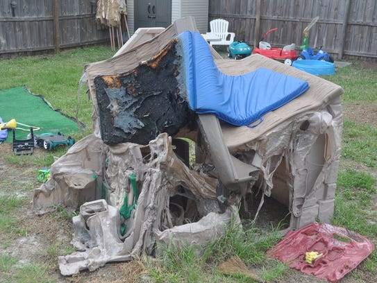 A backyard toy set melted. Damien, 2, lost his toys