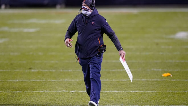 Chicago Bears head coach Matt Nagy walks onto the field after a unnecessary roughness penalty in the second half of Sunday's game against the New Orleans Saints in Chicago.