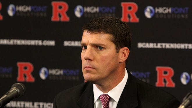 Rutgers University President Robert Barchi and Rutgers University Director of Athletic Patrick Hobbs announce (pictured) Chris Ash has been named head coach of the Rutgers University Scarlet Knights football program during a press conference in the Hale Center at Rutgers University in Piscataway, NJ Monday December 7, 2015.