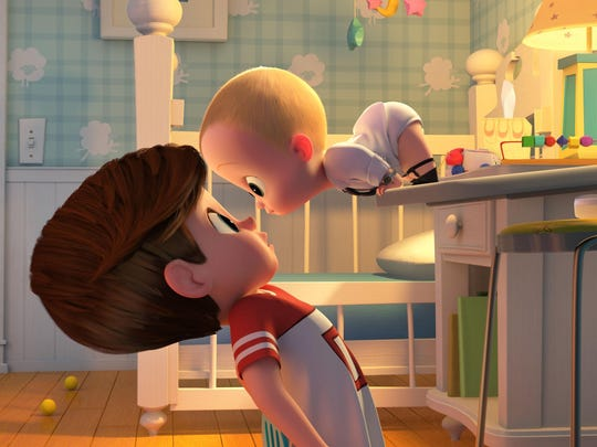 "Tim (voiced by Miles Bakshi) is confronted by his family's newest arrival Boss Baby (voiced by Alec Baldwin) in ""The Baby Boss."""