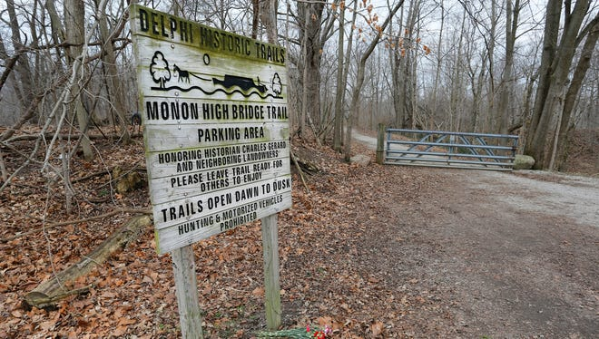 The trail  head of the Monon High Bridge Trail Tuesday, February 21, 2017, just east of Delphi. Delphi teens Liberty German, 14, and Abigail Williams, 13, were hiking the Delphi Historic Trails the afternoon of February 13, but did not show up when relatives arrived later to pick them up. The girls were reported missing at 5:30 p.m. Their bodies were discovered by searchers about 12:15 p.m. Tuesday east of High Bridge and about 50 feet north of Deer Creek.