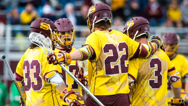 Salisbury University celebrates a goal against York College in the Capital Athletic Conference on Saturday, April 30 at Seagull Stadium in Salisbury.