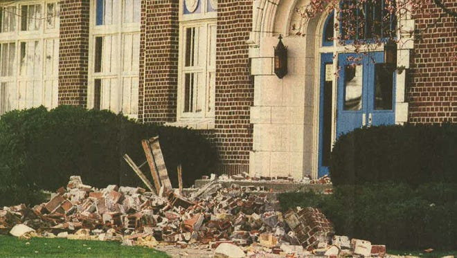 Molalla High School was extensively damaged following the March 25, 1993 earthquake.
