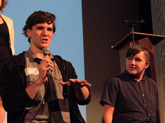 Youth producers Evan Pritchard of Niskayuna, Schenectady County, left, and Kurtis Watson of Ontario, Canada, answer questions from the audience during the Reel Expressions International Youth Film Festival at the Bardavon Nov. 4.