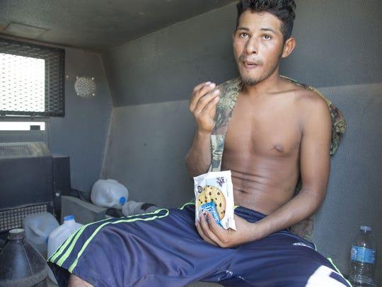 Roger Paiz Leyton, 28, from Leon, Nicaragua, eats a