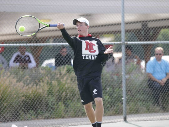 North Central's Brian McAuley won his match at No. 3 singles in the state finals.
