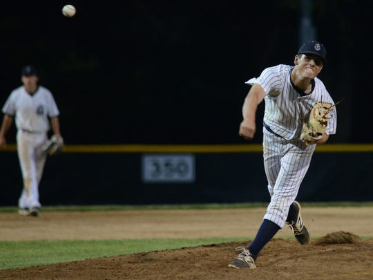 St. Augustine's Cole Vanderslice pitches against Delbarton on Saturday.