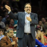 Detroit Pistons coach Stan Van Gundy works against the Cleveland Cavaliers at Quicken Loans Arena.