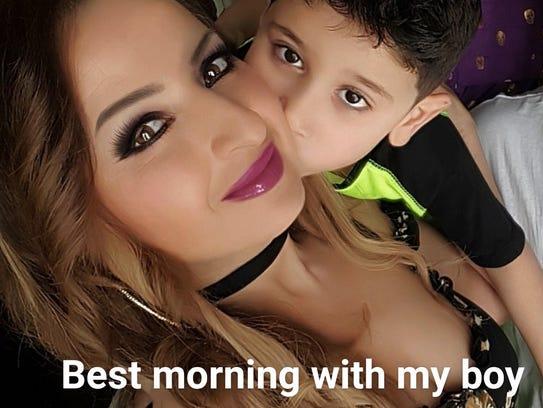 Houda Dannaoui and her 5-year-old son Abdul.