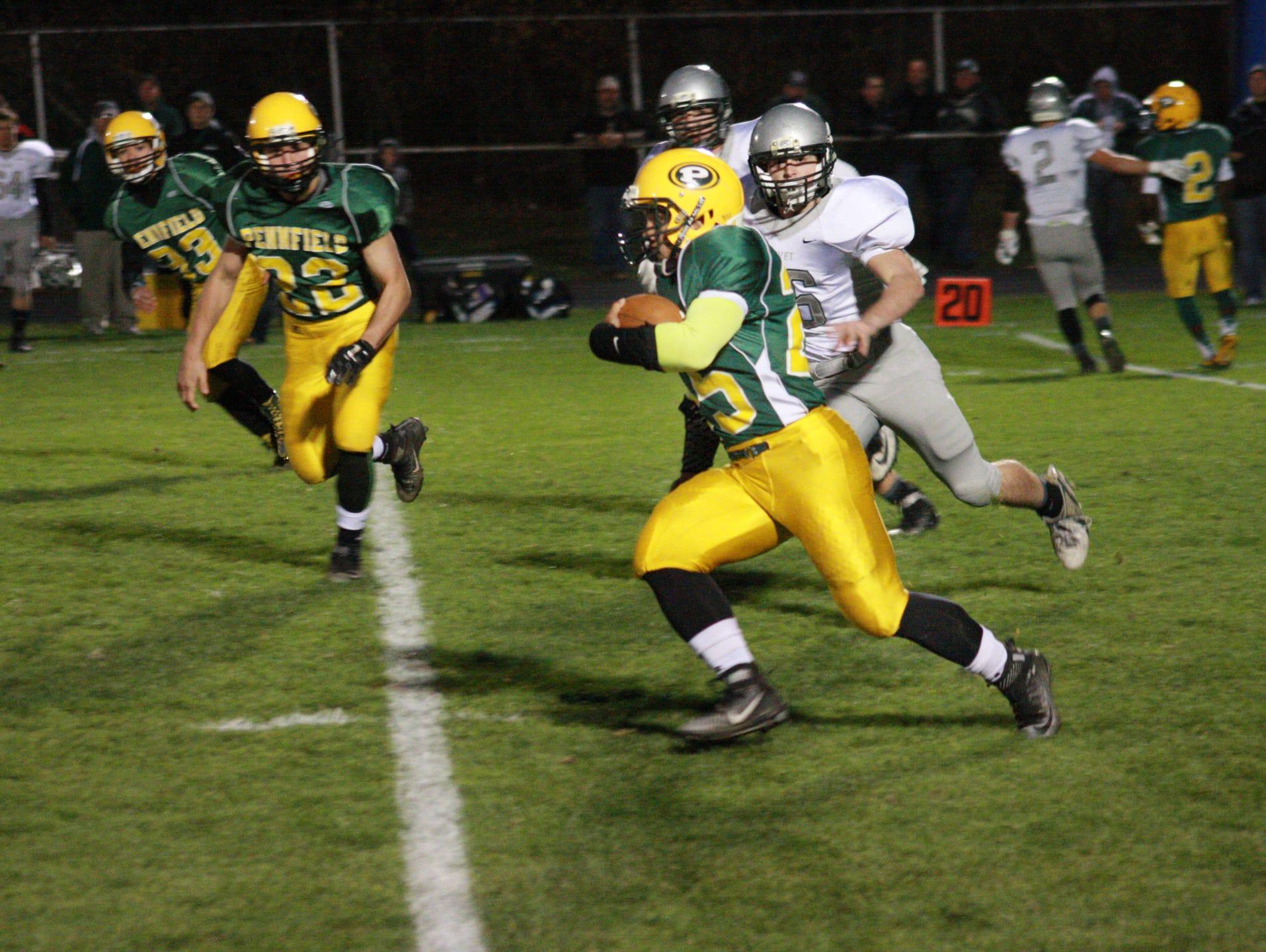 Pennfield High School Sophomore, Troy Hinds runs against Olivet Friday night