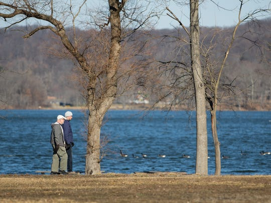Walkers, runners and cyclists were out enjoying the first day of 2017 on Sunday at Rockland Lake State Park.